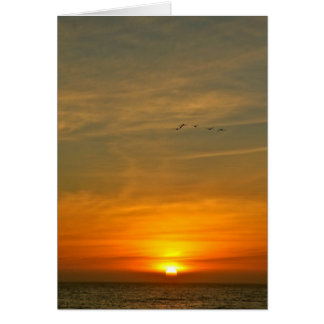 OCEAN SUNSET WITH MIGRATING BIRDS CARD
