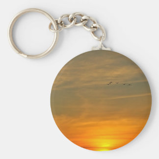 OCEAN SUNSET WITH MIGRATING BIRDS KEYCHAIN