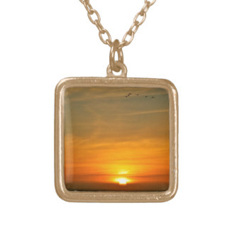 OCEAN SUNSET WITH MIGRATING BIRDS PERSONALIZED NECKLACE