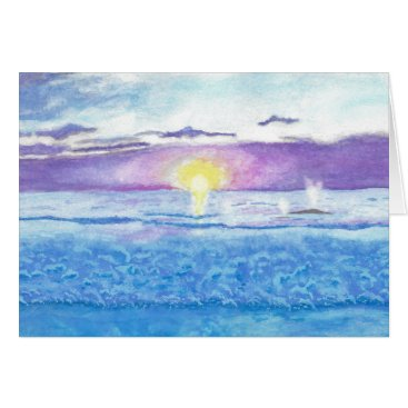 Beach Themed Ocean Sunset with Whales Watercolor Greeting Card