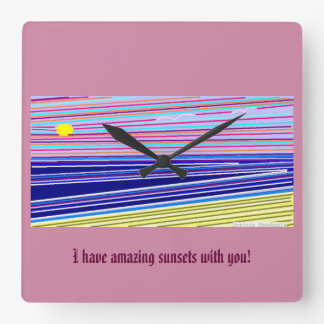 Ocean Sunsets Square Wall Clock