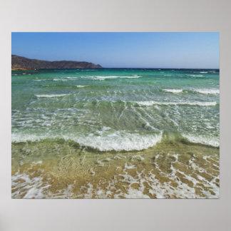 Ocean surf at Elafonisi Beach - Europe, Greece, Poster
