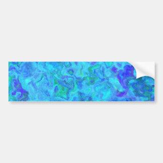 OCEAN SWIRLS BLUE GREENS WHITE RANDOM ABSTRACT DIG BUMPER STICKERS