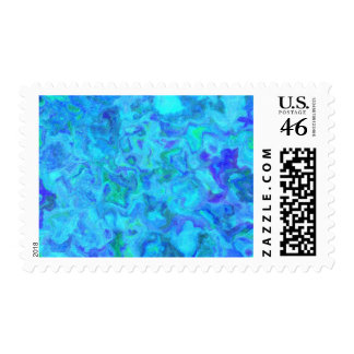 OCEAN SWIRLS BLUE GREENS WHITE RANDOM ABSTRACT DIG POSTAGE STAMP