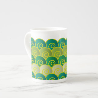 Ocean Swirls Green Bone China Mug