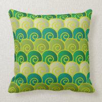 Ocean Swirls Green Pillow