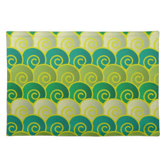 Ocean Swirls Green Placemat Cloth Placemat