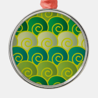 Ocean Swirls Green Premium Round Ornament