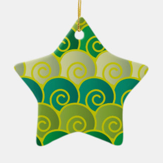 Ocean Swirls Green Star Ornament