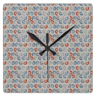 Ocean Swirls Linen Look Square Wall Clock