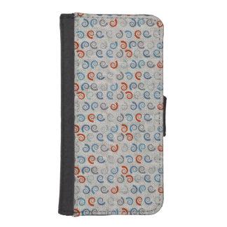 Ocean Swirls Linen Look Wallet Phone Case For iPhone SE/5/5s