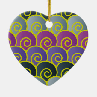 Ocean Swirls Purplish Heart Ornament