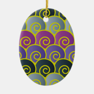 Ocean Swirls Purplish Oval Ornament
