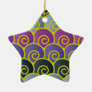 Ocean Swirls Purplish Star Ornament