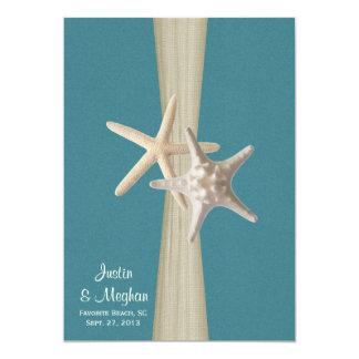 Ocean Teal Burlap and Starfish Beach Wedding 5x7 Paper Invitation Card