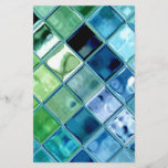 "Ocean Teal Glass Mosaic Tile Art<br><div class=""desc"">A fresh teal and aquamarine unique digital art design. Full of deep blue sea and rolling ocean waves, this design is vibrant, creative, and modern. All items in the Marie Florence Gallery at Zazzle are set at the minimum profit markup and are fully customizable. Simply click &quot;customize&quot; to select a...</div>"