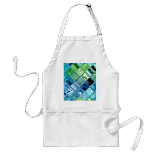 Ocean Teal Glass Mosaic Tile Art Adult Apron