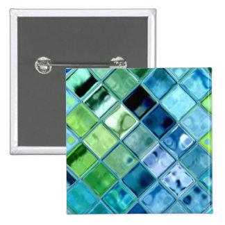 Ocean Teal Glass Mosaic Tile Art Button