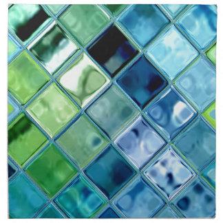 Ocean Teal Glass Mosaic Tile Art Cloth Napkin