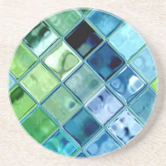 Ocean Teal Glass Mosaic Tile Art Drink Coaster