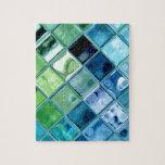 Ocean Teal Glass Mosaic Tile Art Jigsaw Puzzle