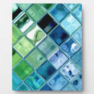 Ocean Teal Glass Mosaic Tile Art Plaque