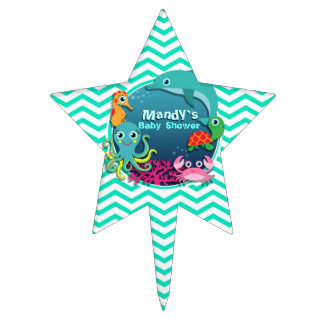 Ocean Theme Baby Shower; Aqua Green Chevron Cake Topper