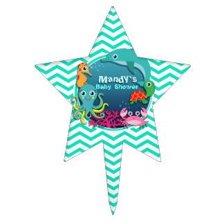 Ocean Theme Baby Shower; Aqua Green Chevron Cake Topper