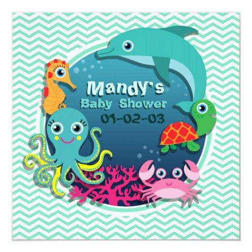 ocean theme baby shower aqua green chevron card zazzle
