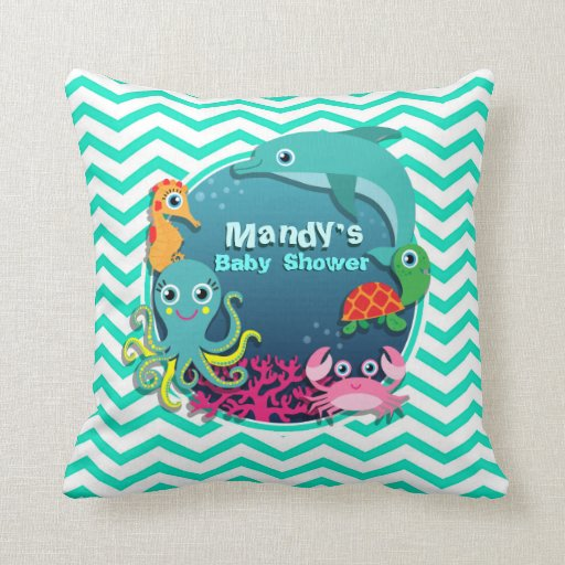 ocean theme baby shower aqua green chevron pillow zazzle