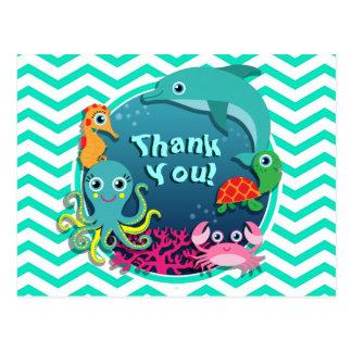 Ocean Theme Baby Shower; Aqua Green Chevron Post Card