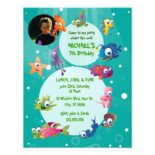 "Ocean Theme Children's Birthday Party Invitation 4.25"" X 5"