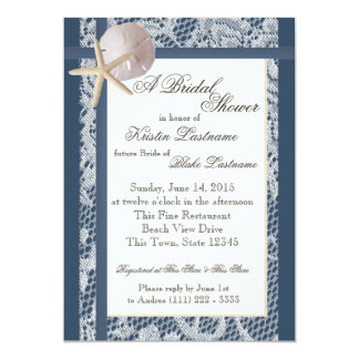 Ocean Theme Navy Blue Wedding Shower Card