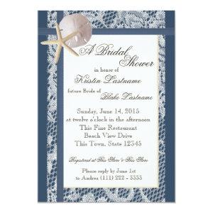 Ocean Theme Navy Blue Wedding Shower 5x7 Paper Invitation Card