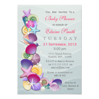 ocean theme Pink Baby shower Invites