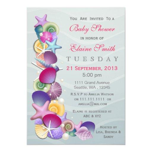 ocean theme pink baby shower invites zazzle