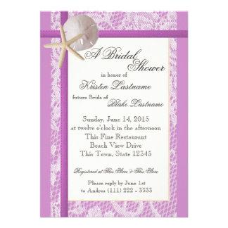 Ocean Theme Purple Wedding Shower Custom Invitations