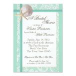 Ocean Theme Sea Foam Green Wedding Shower 5x7 Paper Invitation Card