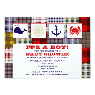 Ocean Themed Baby Shower Invitation - Plaid