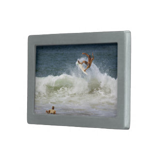 Ocean Themed, Two Guys Surf And Splash Framing A M Belt Buckle