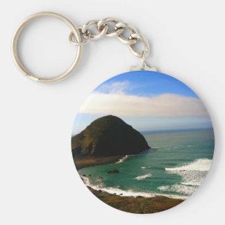 Ocean Tide Basic Round Button Keychain