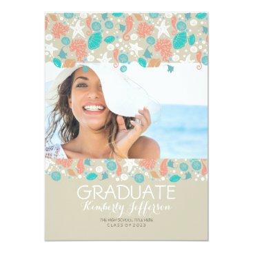 Beach Themed Ocean Treasures Beach Photo Graduation Party Card