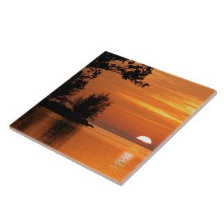 Ocean trees sunset Ceramic Tile