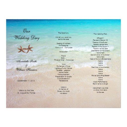 Ocean Tri Fold Tropical Beach Wedding Program Letterhead
