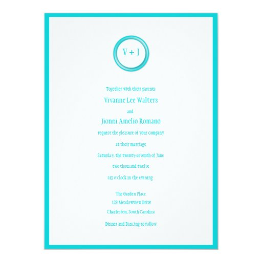 Ocean Turquoise and White Wedding Invitation