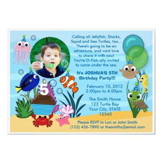"Ocean Under The Sea Birthday Invitation 5"" X 7"" Invitation Card"