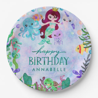 Ocean Under the Sea Mermaid Theme Happy Birthday Paper Plate