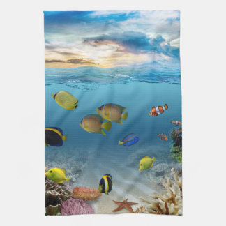 Ocean Underwater Coral Reef Tropical Fish Kitchen Towel