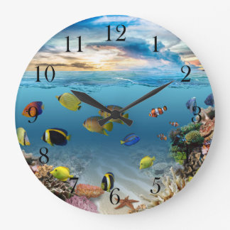 Ocean Underwater Coral Reef Tropical Fish Large Clock