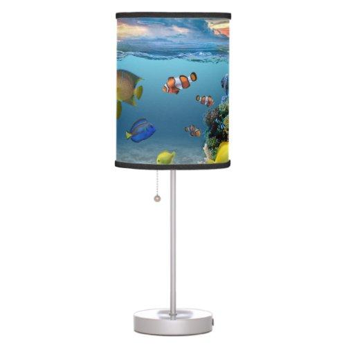 Ocean Underwater Coral Reef Tropical Fish Table Lamp